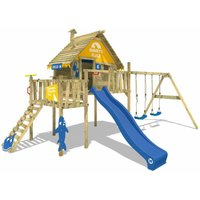 WICKEY SUPERSALE Wooden climbing frame Smart Resort with swing set and blue slide, Playhouse on stilts for kids with climbing ladder and