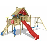 SUPERSALE Wooden climbing frame Smart Resort with swing set and red slide, Playhouse on stilts for kids with climbing ladder and play-accessories