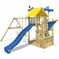 WICKEY Wooden climbing frame Smart Sail with swing set and blue slide, Playhouse on stilts for kids with sandpit, climbing ladder and play-accessories