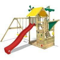 Wooden climbing frame Smart Sail with swing set and red slide, Playhouse on stilts for kids with sandpit, climbing ladder and play-accessories - Wickey