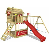 Wooden climbing frame Smart Seaside with swing set and red slide, Playhouse on stilts for kids with sandpit, climbing ladder and play-accessories