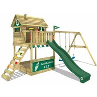 Wooden climbing frame Smart Seaside with swing set and green slide, Playhouse on stilts for kids with sandpit, climbing ladder and play-accessories