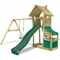 WICKEY Wooden climbing frame Smart Shop with swing set and green slide, Garden playhouse with sandpit, climbing ladder and play-accessories