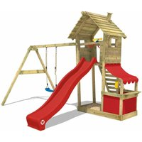 WICKEY Wooden climbing frame Smart Shop with swing set and red slide, Garden playhouse with sandpit, climbing ladder and play-accessories