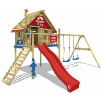 SUPERSALE Wooden climbing frame Smart Sky with swing set and red slide, Playhouse on stilts for kids with climbing ladder and play-accessories - Wickey