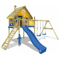 WICKEY Wooden climbing frame Smart Sky with swing set and blue slide, Playhouse on stilts for kids with climbing ladder and play-accessories