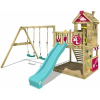 SUPERSALE Wooden climbing frame Smart Sparkle with swing set and turquoise slide, Playhouse on stilts for kids with sandpit, climbing ladder and
