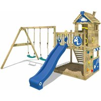 SUPERSALE Wooden climbing frame Smart Sparkle with swing set and blue slide, Playhouse on stilts for kids with sandpit, climbing ladder and