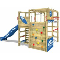 SUPERSALE Wooden climbing frame Smart Tactic with blue slide, Garden playhouse with climbing wall and play-accessories - Wickey