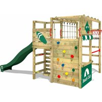WICKEY Wooden climbing frame Smart Tactic with green slide, Garden playhouse with climbing wall and play-accessories