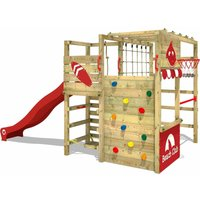 WICKEY Wooden climbing frame Smart Tactic with red slide, Garden playhouse with climbing wall and play-accessories