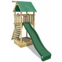 WICKEY Wooden climbing frame Smart Tower with green slide, Garden playhouse with sandpit, climbing ladder and play-accessories