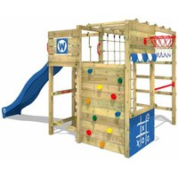 SUPERSALE Wooden climbing frame Smart Victory with blue slide, Garden playhouse with climbing wall and play-accessories - Wickey
