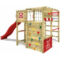 SUPERSALE Wooden climbing frame Smart Victory with red slide, Garden playhouse with climbing wall and play-accessories - Wickey