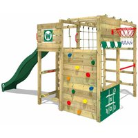 Wooden climbing frame Smart Victory with green slide, Garden playhouse with climbing wall and play-accessories - Wickey