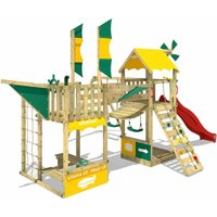 SUPERSALE Wooden climbing frame Smart Wing with swing set and red slide, Playhouse on stilts for kids with sandpit, climbing ladder and