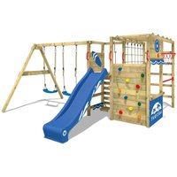 WICKEY Wooden climbing frame Smart Zone with swing set and blue slide, Garden playhouse with climbing wall and play-accessories