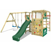 WICKEY Wooden climbing frame Smart Zone with swing set and green slide, Garden playhouse with climbing wall and play-accessories