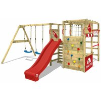 WICKEY Wooden climbing frame Smart Zone with swing set and red slide, Garden playhouse with climbing wall and play-accessories