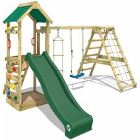 Wooden climbing frame StarFlyer with swing set and green slide, Garden playhouse with sandpit, climbing ladder and play-accessories - Wickey