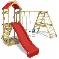 Wooden climbing frame StarFlyer with swing set and red slide, Garden playhouse with sandpit, climbing ladder and play-accessories - Wickey