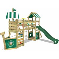 WICKEY Wooden climbing frame StormFlyer with swing set and green slide, Playhouse on stilts for kids with sandpit, climbing ladder and play-accessories
