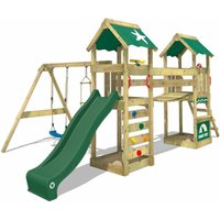 WICKEY Wooden climbing frame SunFlyer with swing set and green slide, Garden playhouse with sandpit, climbing ladder and play-accessories