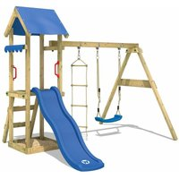 WICKEY Wooden climbing frame TinyCabin with swing set and blue slide, Garden playhouse with sandpit, climbing ladder and play-accessories