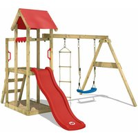 WICKEY Wooden climbing frame TinyPlace with swing set and red slide, Garden playhouse with sandpit, climbing ladder and play-accessories
