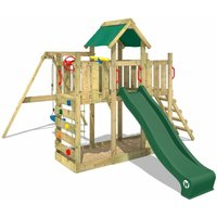 Wooden climbing frame TwinFlyer with swing set and green slide, Garden playhouse with sandpit, climbing ladder and play-accessories - Wickey