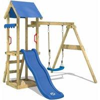 Aire de jeux Portique bois TinyWave avec balançoire et toboggan bleu Maison enfant exterieur avec bac à sable, échelle d'escalade & accessoires de