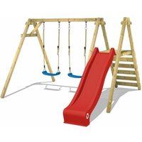 Wooden swing set Smart Dash with red slide Childrens swing - Wickey