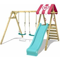 WICKEY Wooden swing set Smart Sugar with turquoise slide Childrens swing