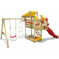 Wooden climbing frame AirFlyer with swing set and red slide, Playhouse on stilts for kids with sandpit, climbing ladder and play-accessories - Wickey