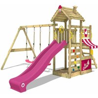 Wooden climbing frame CherryFlyer with swing set and purple slide, Garden playhouse with sandpit, climbing ladder and play-accessories - Wickey