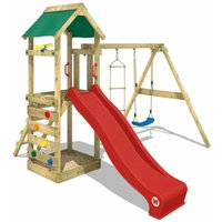 WICKEY Wooden climbing frame FreeFlyer with swing set and red slide, Garden playhouse with sandpit, climbing ladder and play-accessories
