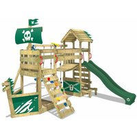 WICKEY Wooden climbing frame GhostFlyer with swing set and green slide, Playhouse on stilts for kids with sandpit, climbing ladder and play-accessories