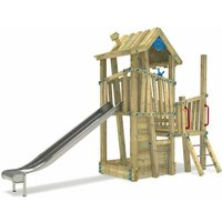 Wooden climbing frame GIANT Castle with sandpit and slide – DIN EN1176 – Commercial playhouse for kids - Wickey