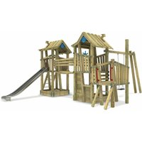 Wooden climbing frame GIANT Fortress G-Force with swing set, sandpit and slide – DIN EN1176 – Commercial playhouse for kids - Wickey