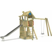 Wooden climbing frame GIANT Treehouse G-Force with swing set, sandpit and slide – DIN EN1176 – Commercial playhouse for kids - Wickey
