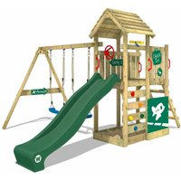 Wooden climbing frame MultiFlyer Deluxe with swing set and green slide, Garden playhouse with sandpit, climbing ladder and play-accessories - Wickey