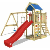 WICKEY Wooden climbing frame MultiFlyer with swing set and red slide, Garden playhouse with sandpit, climbing ladder and play-accessories
