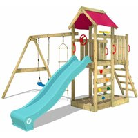 Wooden climbing frame MultiFlyer with swing set and turquoise slide, Garden playhouse with sandpit, climbing ladder and play-accessories - Wickey