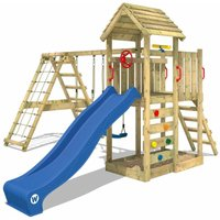 Wooden climbing frame RocketFlyer with swing set and blue slide, Garden playhouse with sandpit, climbing ladder and play-accessories - Wickey