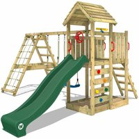Wooden climbing frame RocketFlyer with swing set and green slide, Garden playhouse with sandpit, climbing ladder and play-accessories - Wickey