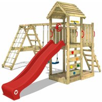 Wooden climbing frame RocketFlyer with swing set and red slide, Garden playhouse with sandpit, climbing ladder and play-accessories - Wickey