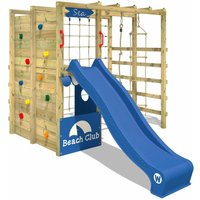 WICKEY Wooden climbing frame Smart Allstar with blue slide, Garden playhouse with climbing wall and play-accessories