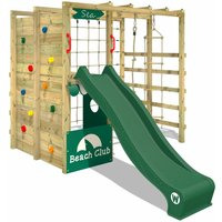 Wooden climbing frame Smart Allstar with green slide, Garden playhouse with climbing wall and play-accessories - Wickey