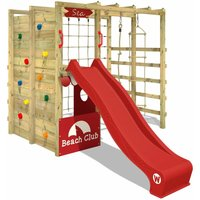 Wooden climbing frame Smart Allstar with red slide, Garden playhouse with climbing wall and play-accessories - Wickey