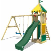 WICKEY Wooden climbing frame Smart Brave with swing set and green slide, Garden playhouse with sandpit, climbing ladder and play-accessories